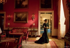 Lady O posed in the Red Room of the White House in a Michael Kors sweater and ball skirt.